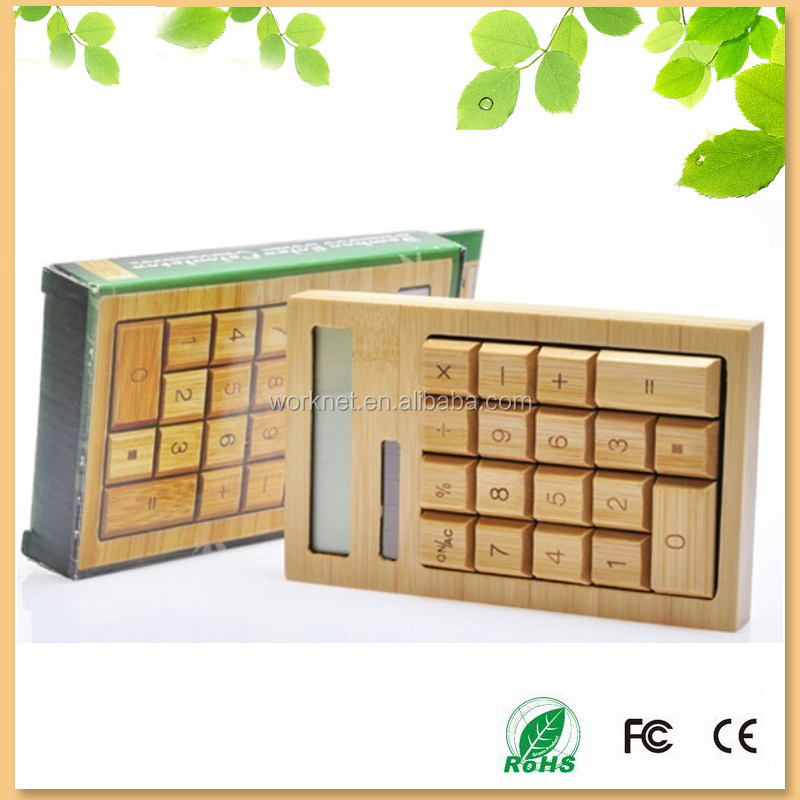factory cheap price solar powered 12 digits bamboo calculator with 18 keys, bamboo solar calculator for promotion gift