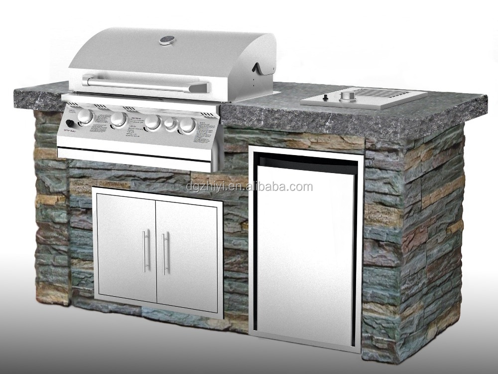 4+1 Burner Gas Grill Stone Outdoor Kitchen For Sale