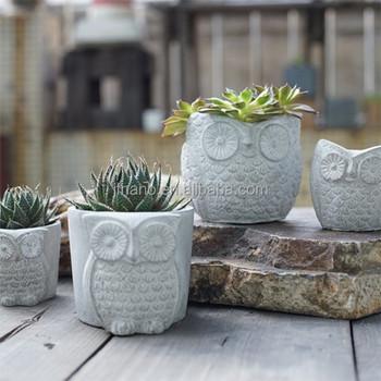 Creative Owl Animal Shape Cement Flower Planter