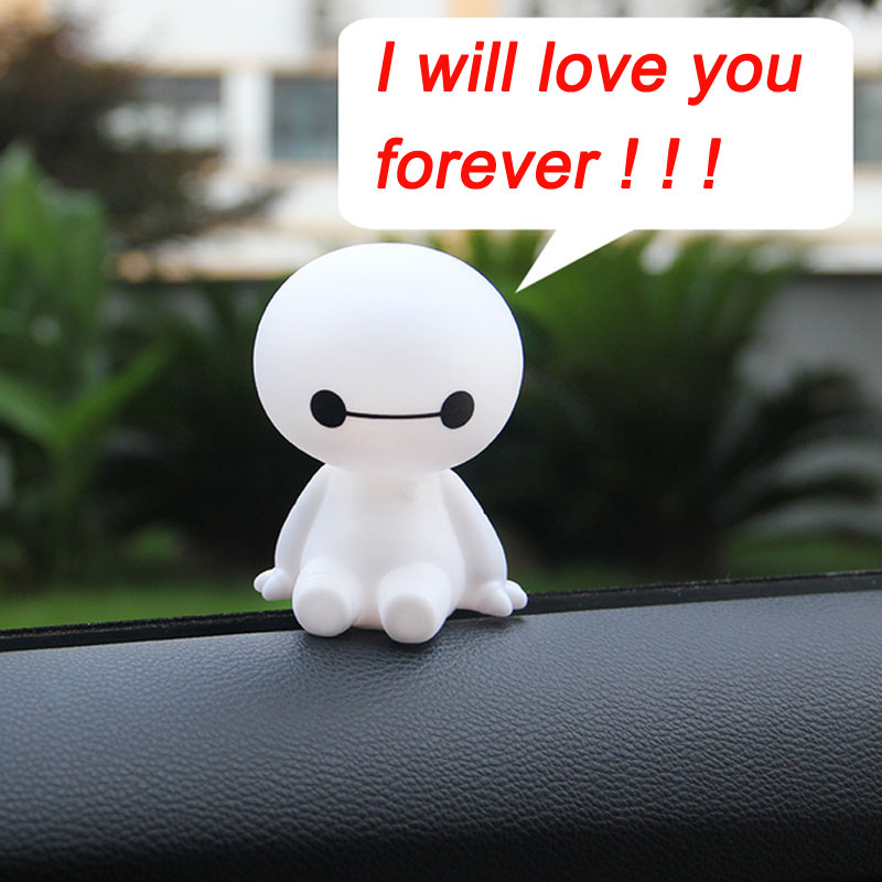10CM Big Hero 6 Baymax Anime PVC Action Figure Cartoon Cute Robot Bobble Head Dolls Car Decor Kids Toys Birthday Gift