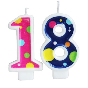 Colorful decorative birthday cake number shape candle