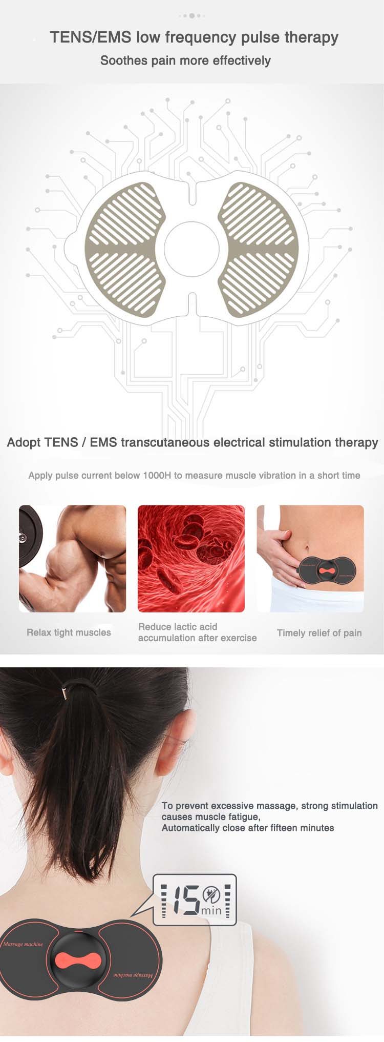 2018 Portable body massager New Smart relief Rechargeable Mini Medical Muscle pulse Massage for Body Pain Relief