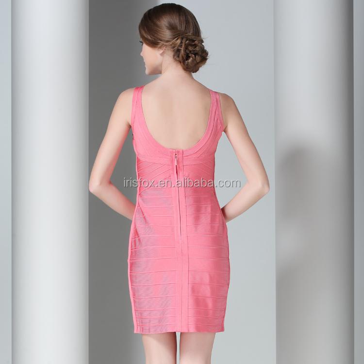 Lovely Girl Pink V cuello último porno imagen en vestido de partido ...