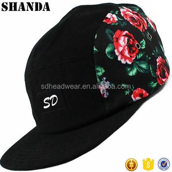 46c15209962 Flat Brim Roses 5 Panel Cap Headwear Surf Skate Snow Hat 5 Panel Sport Caps  With