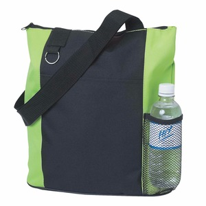 Bottle Pocket Polyester Zippered Promotional Shopper Tote Bags With Web Handles