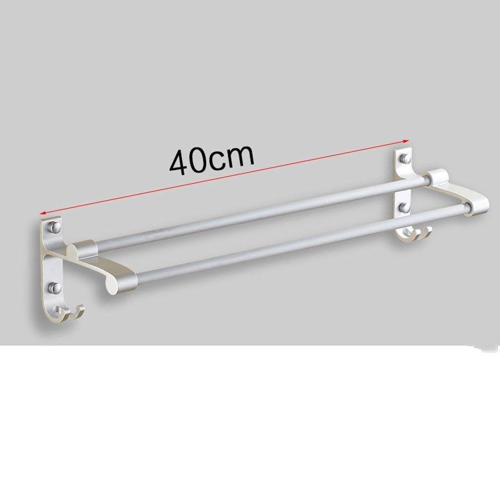 EQEQ Uus Free Towel Place in The Chain of The Aluminum Bath Rooms Bathroom Towel Holder Hanging Towel More Double Acting Towel Rack Bar (Size: 50Cm).