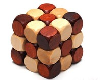 Wooden activity cube toy,3d wooden cubes puzzle magic square toys