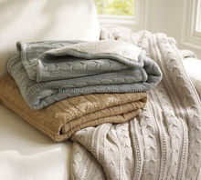 50DA98 100%cotton luxury cable knit blanket