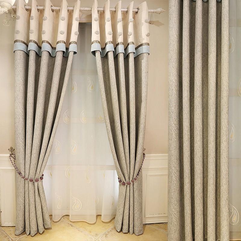 el ltimo diseo gris azul de estilo moderno moda chenille jacquard cortina de tela
