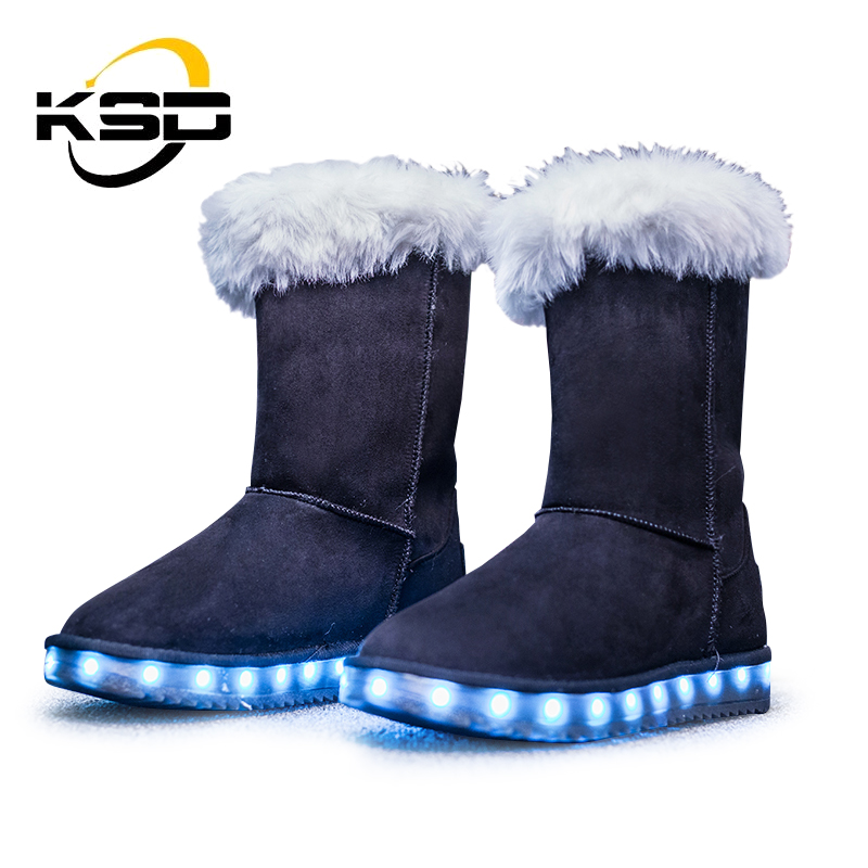 2017 Arrivals Kids Led Light Snow Boots Women High Heel Shoes