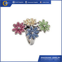 CCR0802 Big Diamond Ring Brass Flower Ring with Large Cubic Zirconia