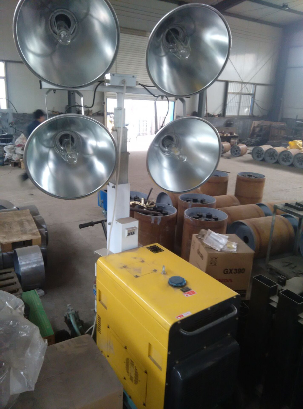 Flood lights for construction : Portable construction led flood lights mobile light tower