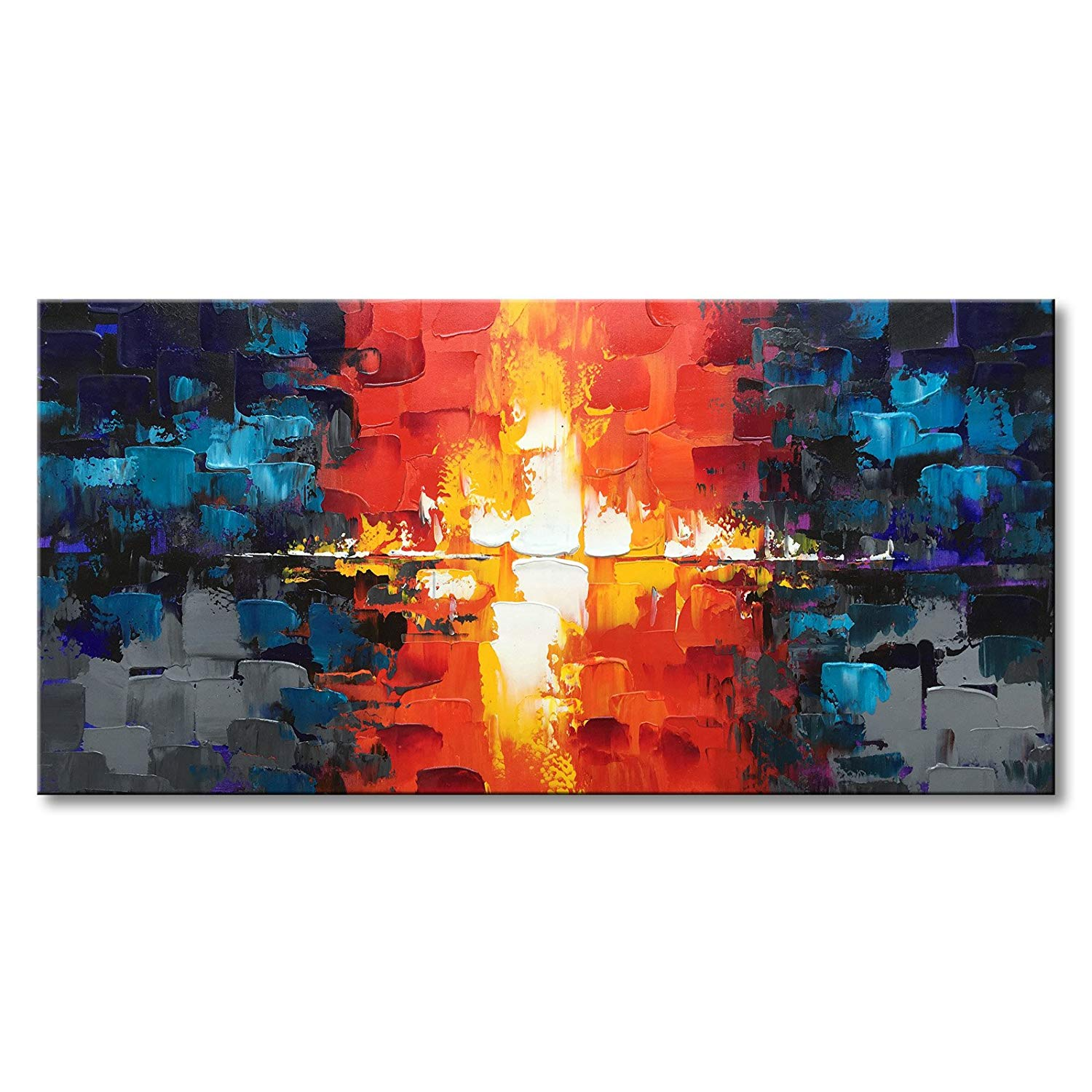 Textured Abstract Wall Art Hand Painted Modern Oil Painting on Canvas for Living Room