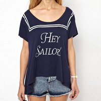 Hey Sailor crew neck decoration printed dark blue round collar short sleeve women T-shirt