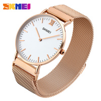 stainless steel mesh strap simple design magnet buckle couple 6mm ultra thin gold watch men