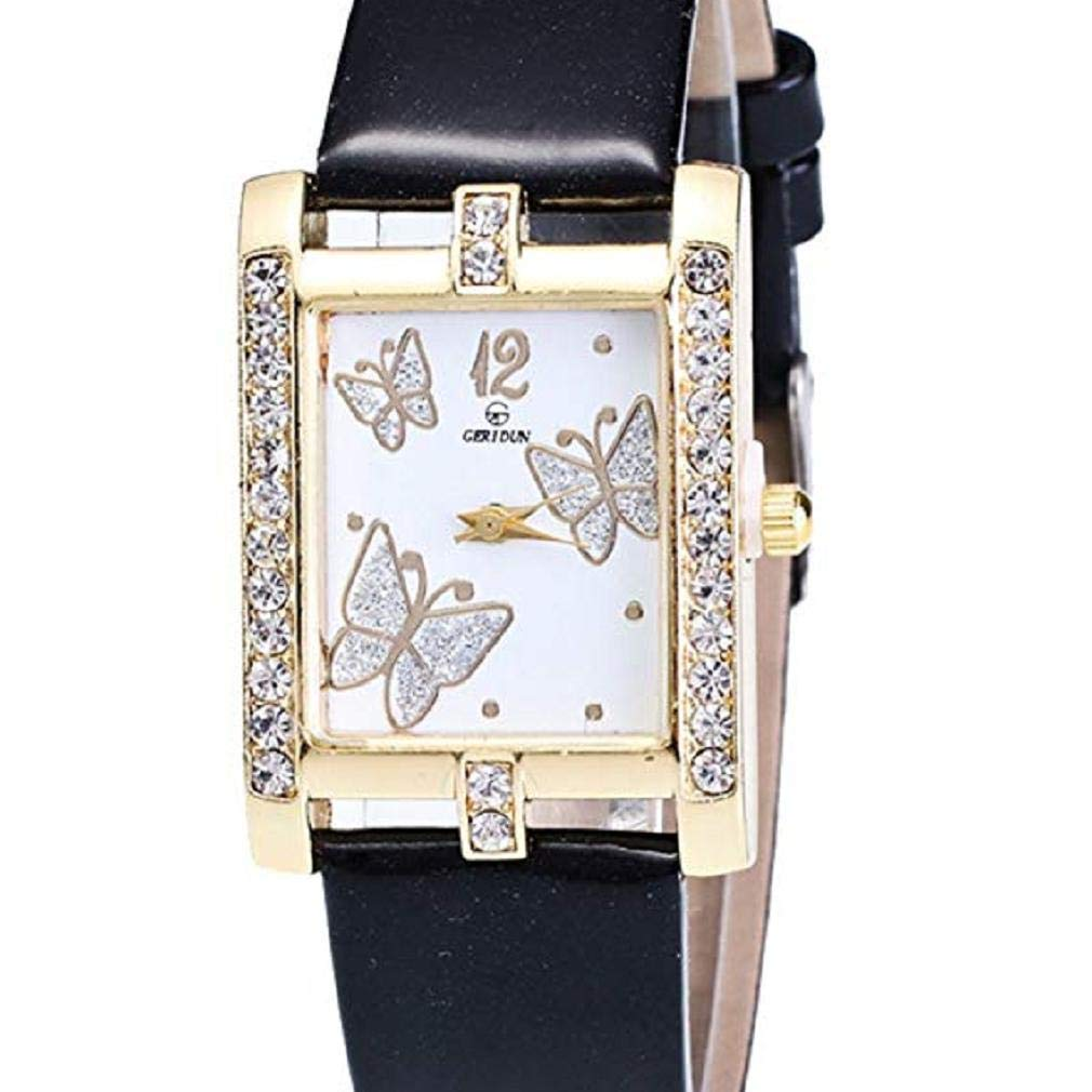 Butterfly Watches for Women, Windoson Crystal Analog Lady Watches Female Watches Wrist Watches for Women Rectangle Leather Watch (Black)