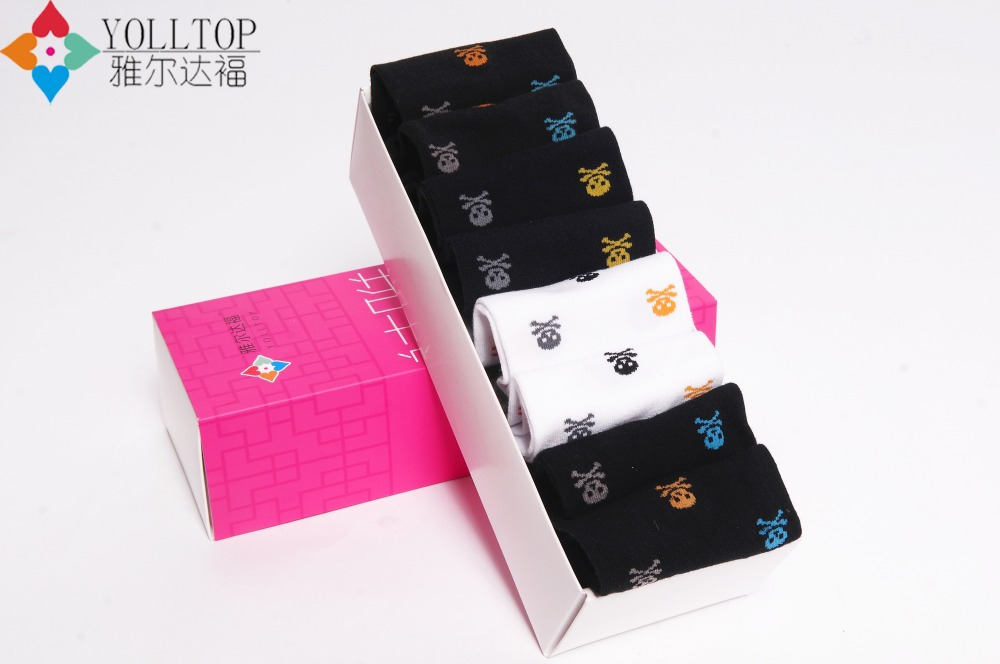 women Ship socks 2015 spring autumn style Pure cotton women sport socks skull women Ship socks wholesale 6 double pack