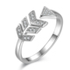 925 silver letter v shaped ring with clear zircon made in china