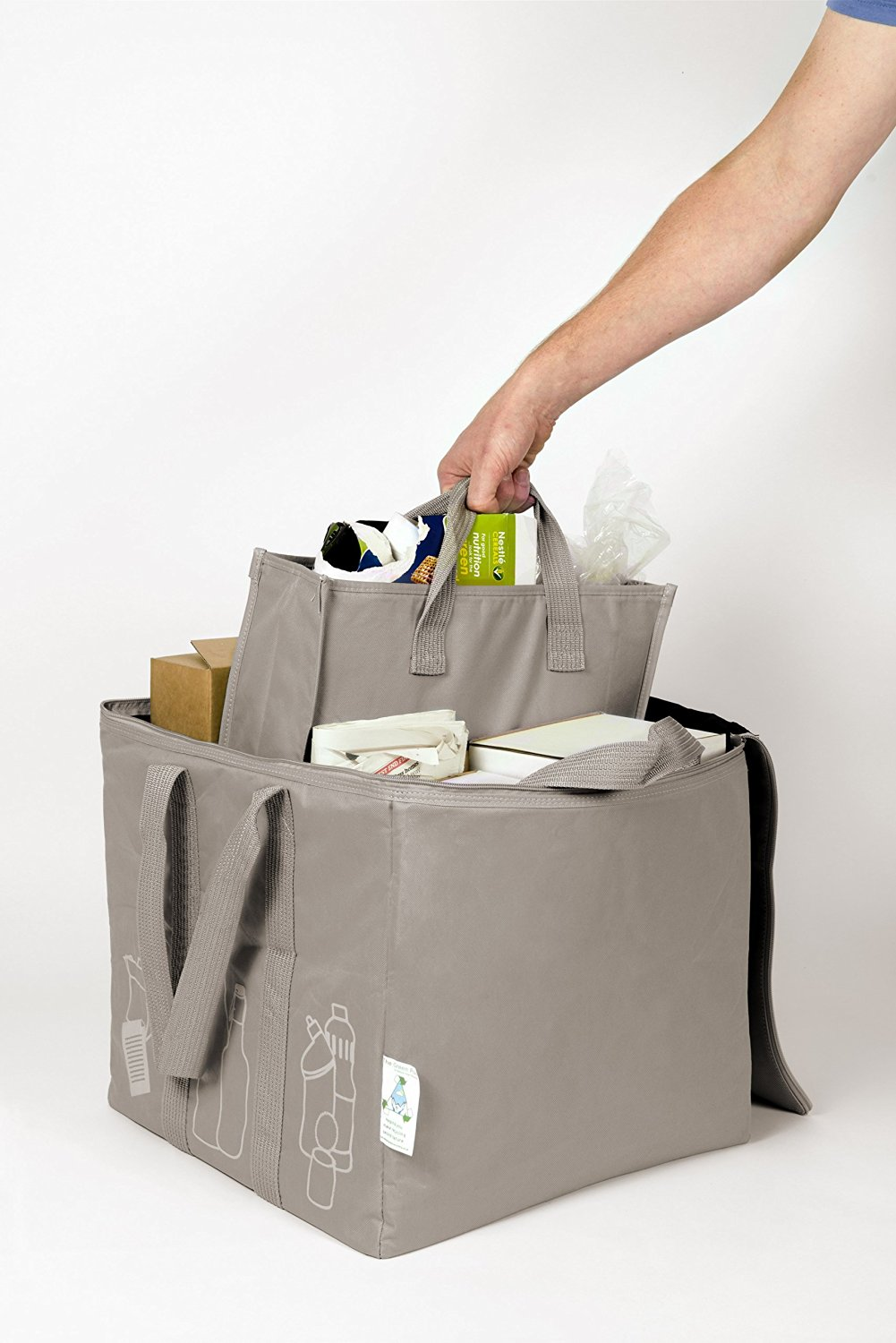 The Green Pod Recycling Bag - with removable bags inside (Grey, 80 Liters)