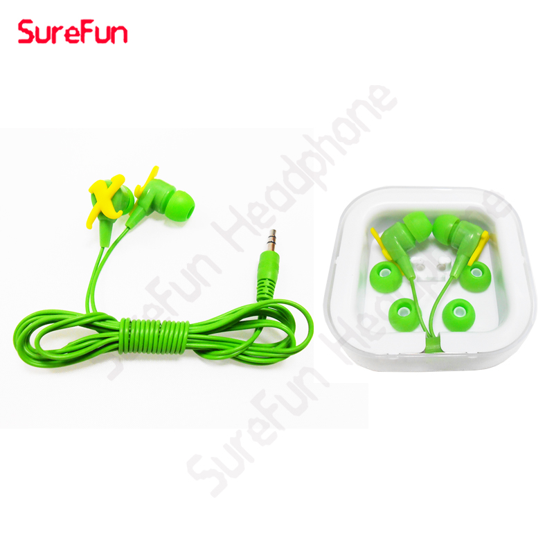green earbuds with lid and customer logo