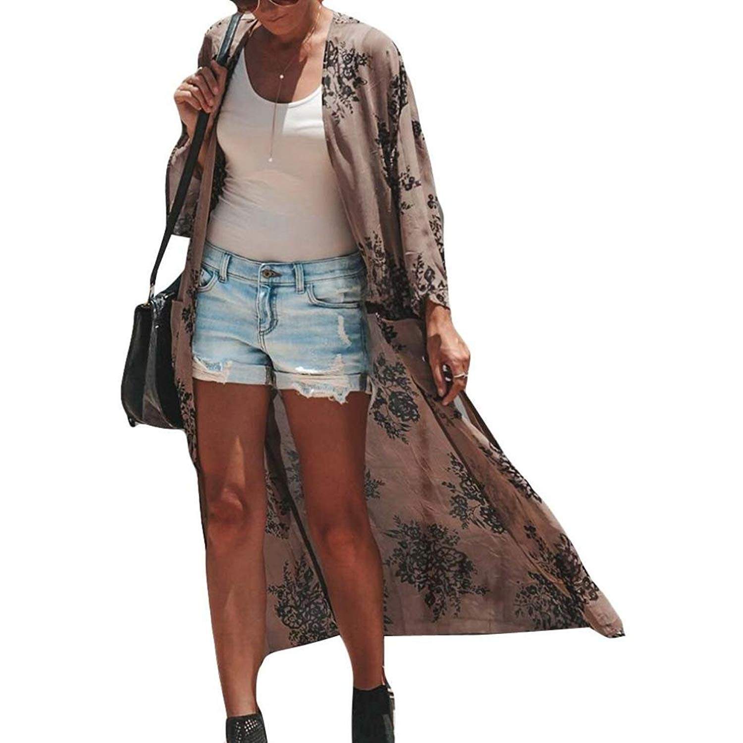 WYTong Clearance!Womens Vintage Long Sheer Chiffon Kimono Open Front Floral Cardigan Long Sleeve
