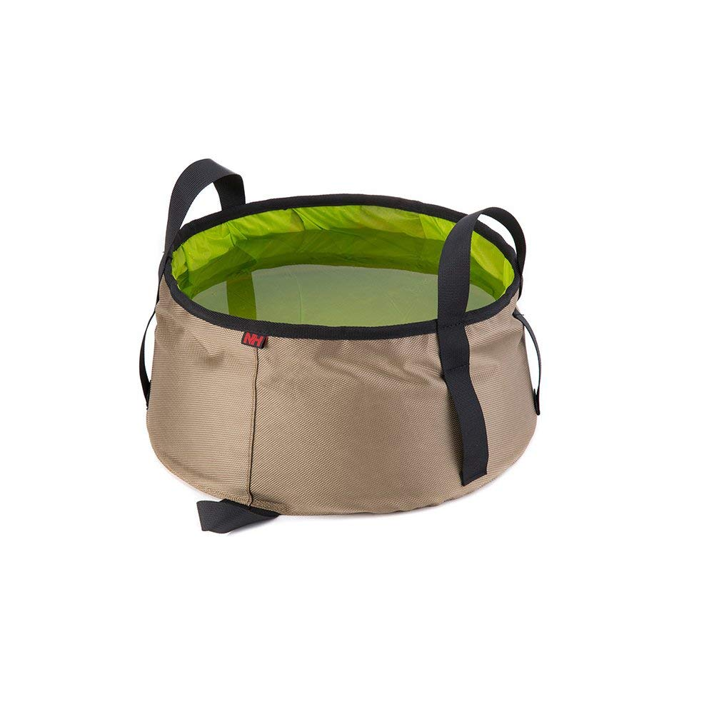Tougs Collapsible Bucket with Mesh Pocket, Multifunctional Folding Bucket For Camping, Hiking & Travel,Car wash (Brown (green inside))
