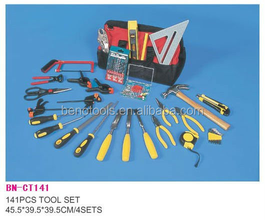 House hardware tool set with 141pcs and hand tool set bag with much pocket for plumbers