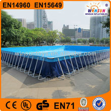 Prefabricated Folding Steel Frame Swimming Pool/outdoor easily assembled metal swimming pool