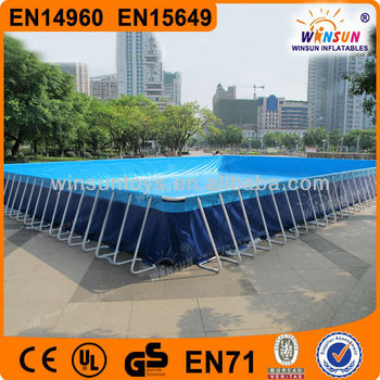 Prefabricated Folding Steel Frame Swimming Pool Outdoor Easily Assembled Metal Swimming Pool