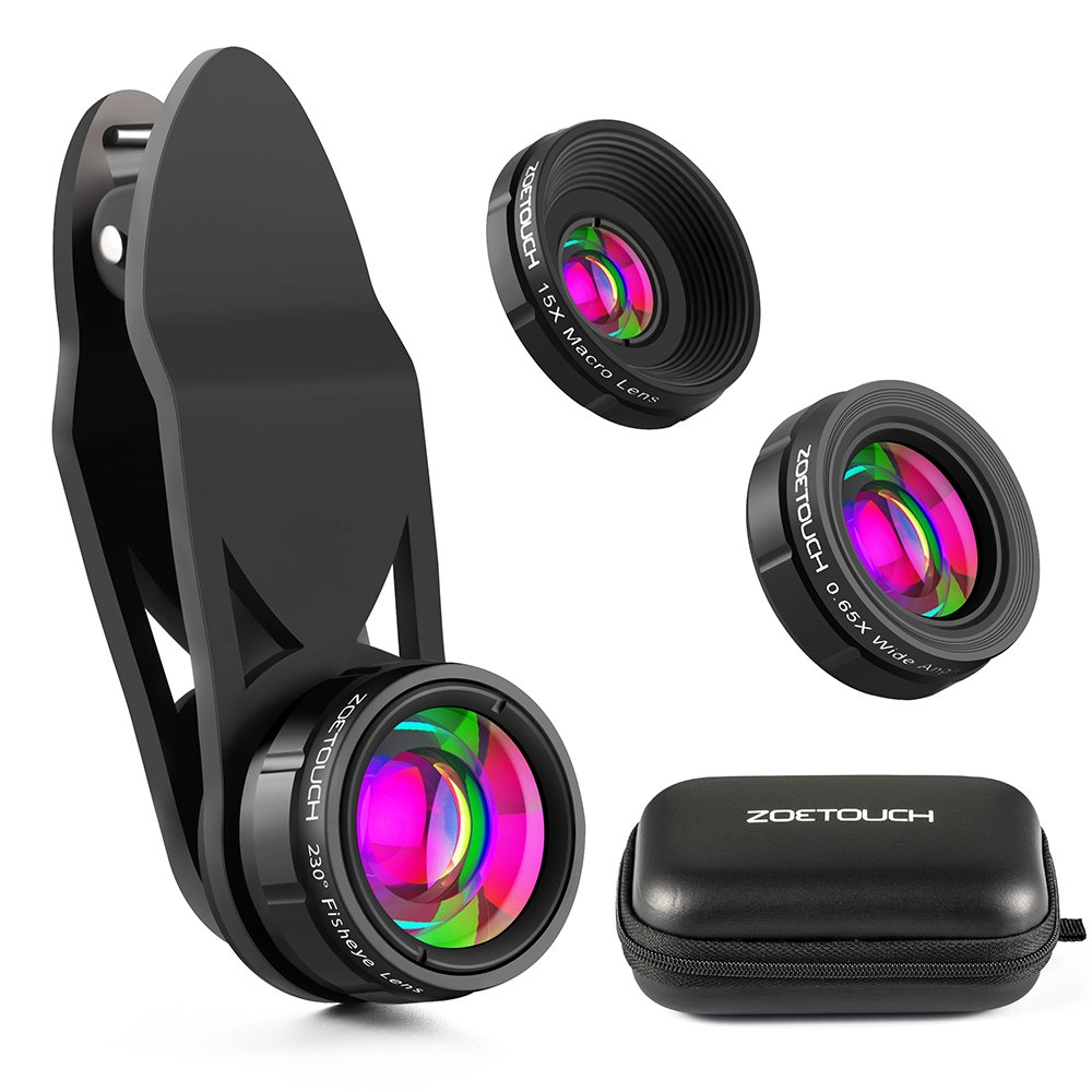 ZOETOUCH Camera Lens Kit, 230° Fisheye Lens + 0.65X Super Wide Angle Lens + 15X Macro Lens, Clip on 3 in 1 Cell Phone Lens for iPhone/ Samsung/ LG/ Moto G/ Nokia/ Sony/ Nexus/Other Android Smartphones