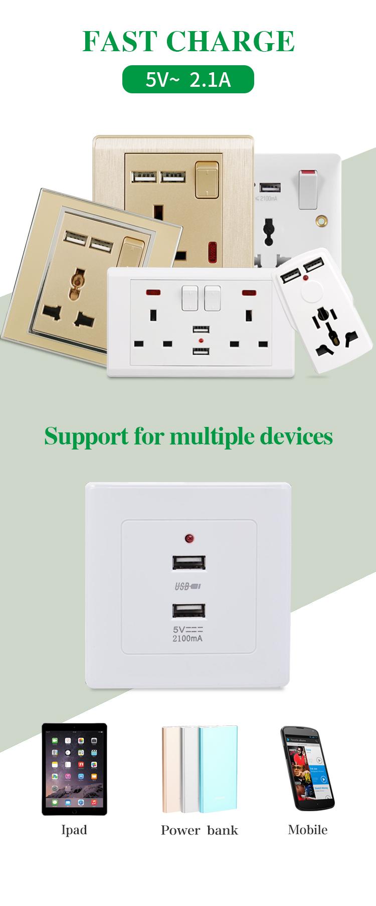 VGT Đôi Màu Trắng 13A 220v UK Ổ Cắm Điện với USB