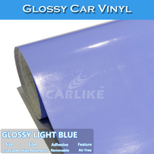 CARLIKE 1.52x30M Air Bubble Free Light Blue Glossy Sticker Wrap