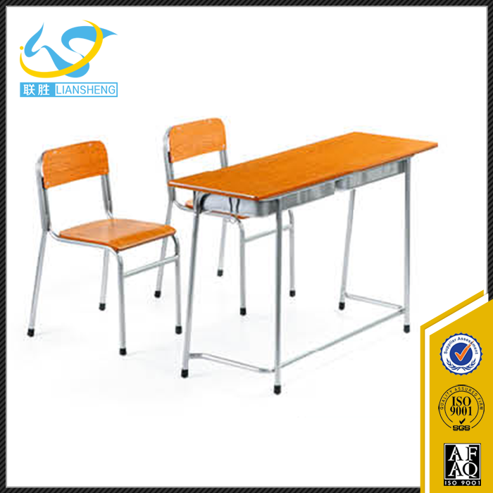 Low Price School Furniture Student Double Table Seat Combo College