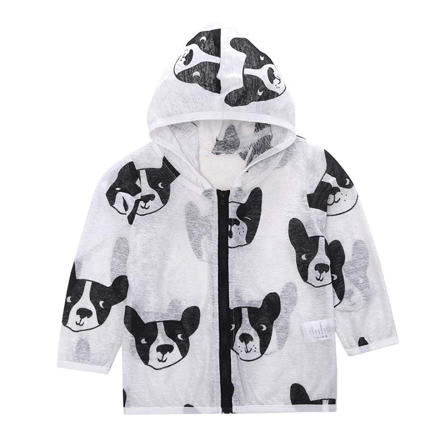 f1a9ae1cf7f Get Quotations · Boomboom Baby Summer Coat Baby Kid Summer Sun Protection  Jacket Dog Printed Hooded ZipThin Coats for