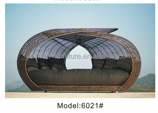 Aluminum rattan sunbed outdoor furniture