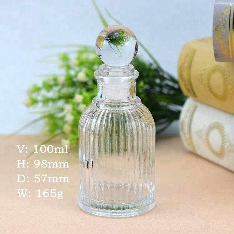 Empty Decorative Perfume 100ml Reed Diffuser Bottle Glass