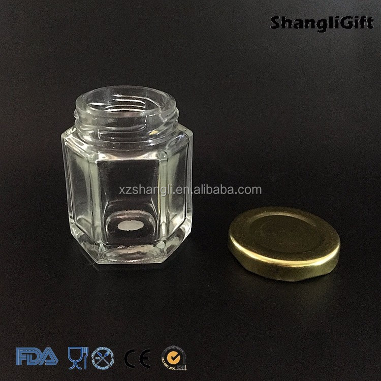 Food Use Hexagon Type 50ml Glass Jar for Honey 1oz with Lid