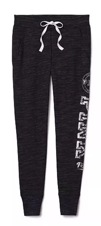 Get Quotations · Victoria s Secret PINK Bling Collegiate Skinny Sweatpants  Marl Black (X-Small) e511474b4