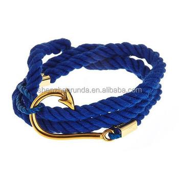 Whole Fashion Gold Fishhook Bracelet Make Cotton Rope Hook Bracelets With Jewelry Diy