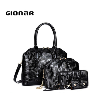 New Women Branded Hand Bags Pouch Handbags Sets Las Black Purse