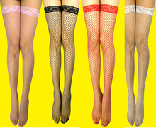5color Japanese girl Stocking Thigh High Sheer Lace Top Sexy Stockings Hosiery Women Female Fishnet Stocking