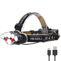 Wholesale New Arrival LED Headlamp 2*T6+4*XPE+2*COB USB Rechargeable LED Headlight use 2* 18650 Rechargeable Battery head lamp