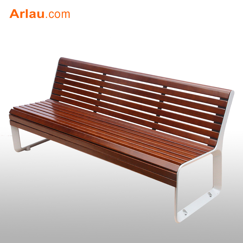 Backless Teak Wooden Garden Bench Solid Outdoor Sports Club