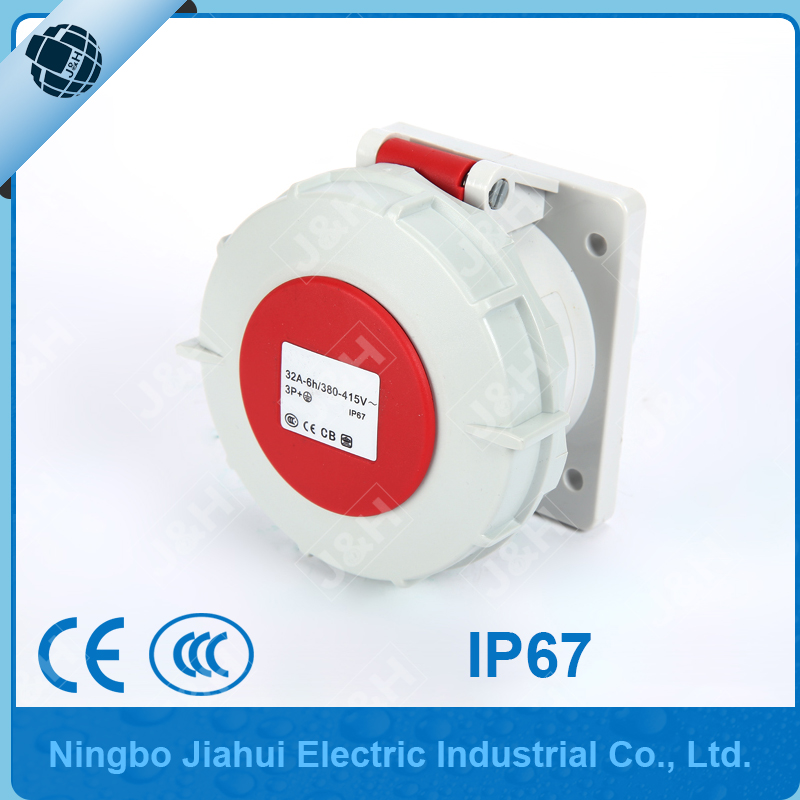 IP67 high quality european standard socket 4P 32A waterproof industry panel mounted socket