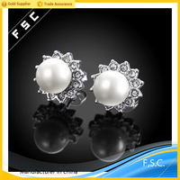 Top selling fashion personality jewelry white gold pearl alloy women earrings