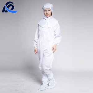 White Dustproof Cleanroom Antistatic Esd Coverall Without Hood