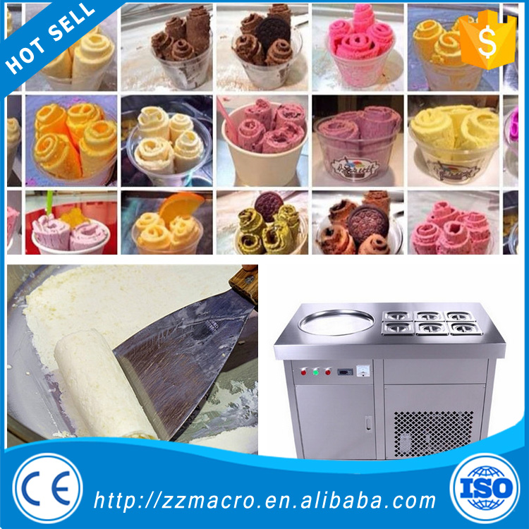 Newly lowest price of icecream making machine double pans fried ice cream