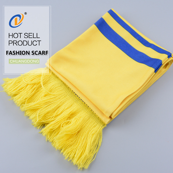 Sample free hot sale custom printed fans football knitted scarf