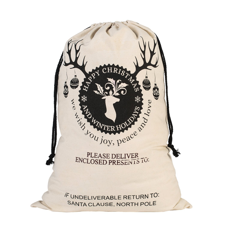99046238e4c Canvas Christmas Santa Sack Bags - Gift for Kids Large Size (Beige - Ball  Deer