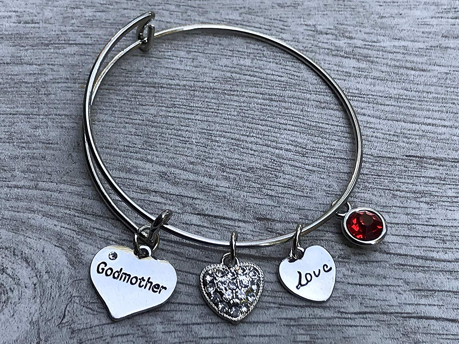 Wind and Fire Godmother Filigree Heart Silver Medal Charm Bangle